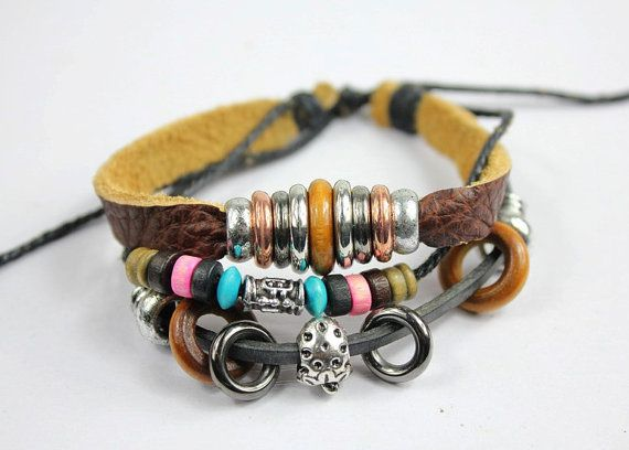 brown leather bracelet with colored wood beads by pinkyourlimb, $9.50