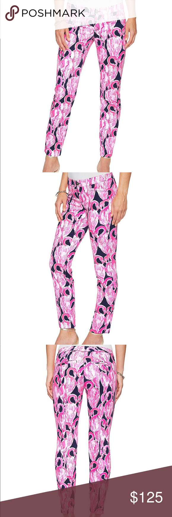 Lilly Pulitzer Kelly Skinny Ankle Pant An eye-catching pant to pair with a solid top. These pants are true outfit makers!  Printed ankle pant in a textured woven stretch cotton jacquard.  Color: High Tide Navy Vía Amor (much brighter than the picture seems!)  Low rise and skinny pencil leg.  Faux front slant and rear welt pockets.  Banded waist.  Zipper fly and gold-tone button closure.  90% cotton, 7% elasterell-p, 3% spandex.  Machine wash cold, tumble dry low.  Imported. Lilly Pulitzer Pants