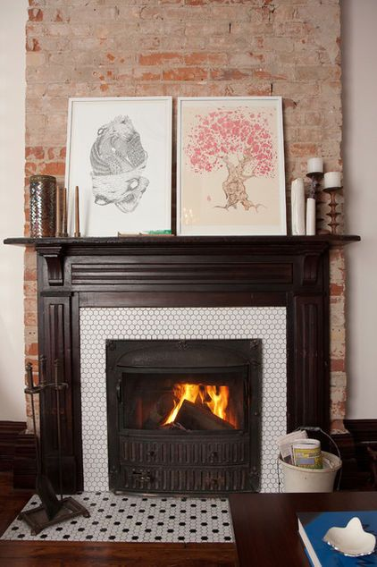 Excellent Penny Tile Fireplace Eclectic Living Room By Jenn Hannotte Home Interior And Landscaping Ferensignezvosmurscom