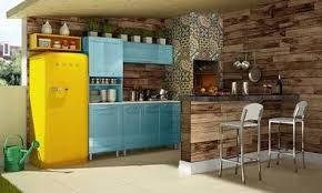 Resultado de imagem para decoração em azul e amarelo para o espaço gourmet