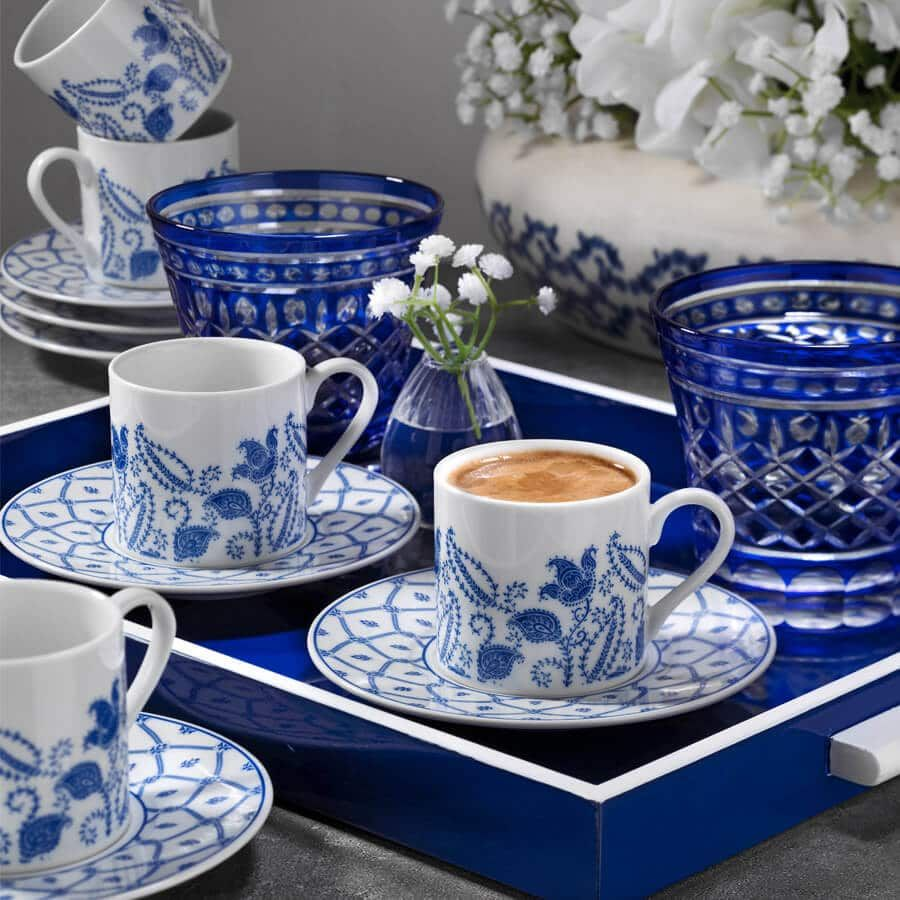 Buy turkish coffee serving set for six blue dream in
