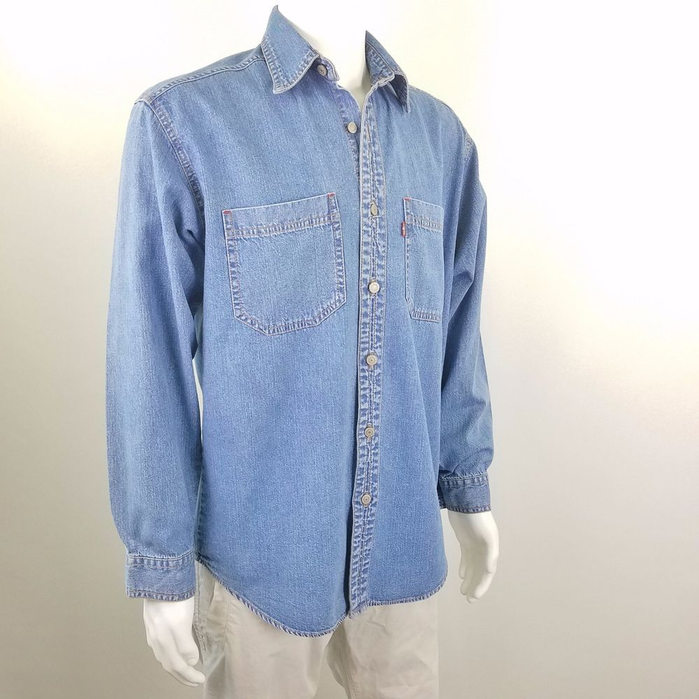c2ba3765b66 LEVIS Red Tab Vintage 90s Mens Denim Shirt Long Sleeve Button Front Size S # Levis #ButtonFront