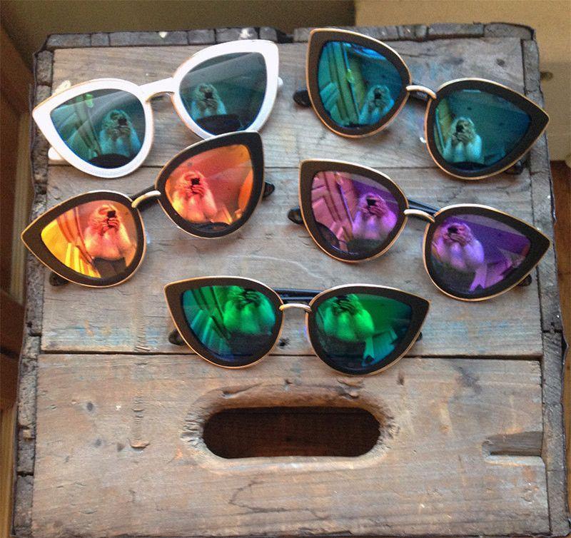 a2e451e075f Oversized Cat Eye Blue Mirrored Sunglasses - Clara