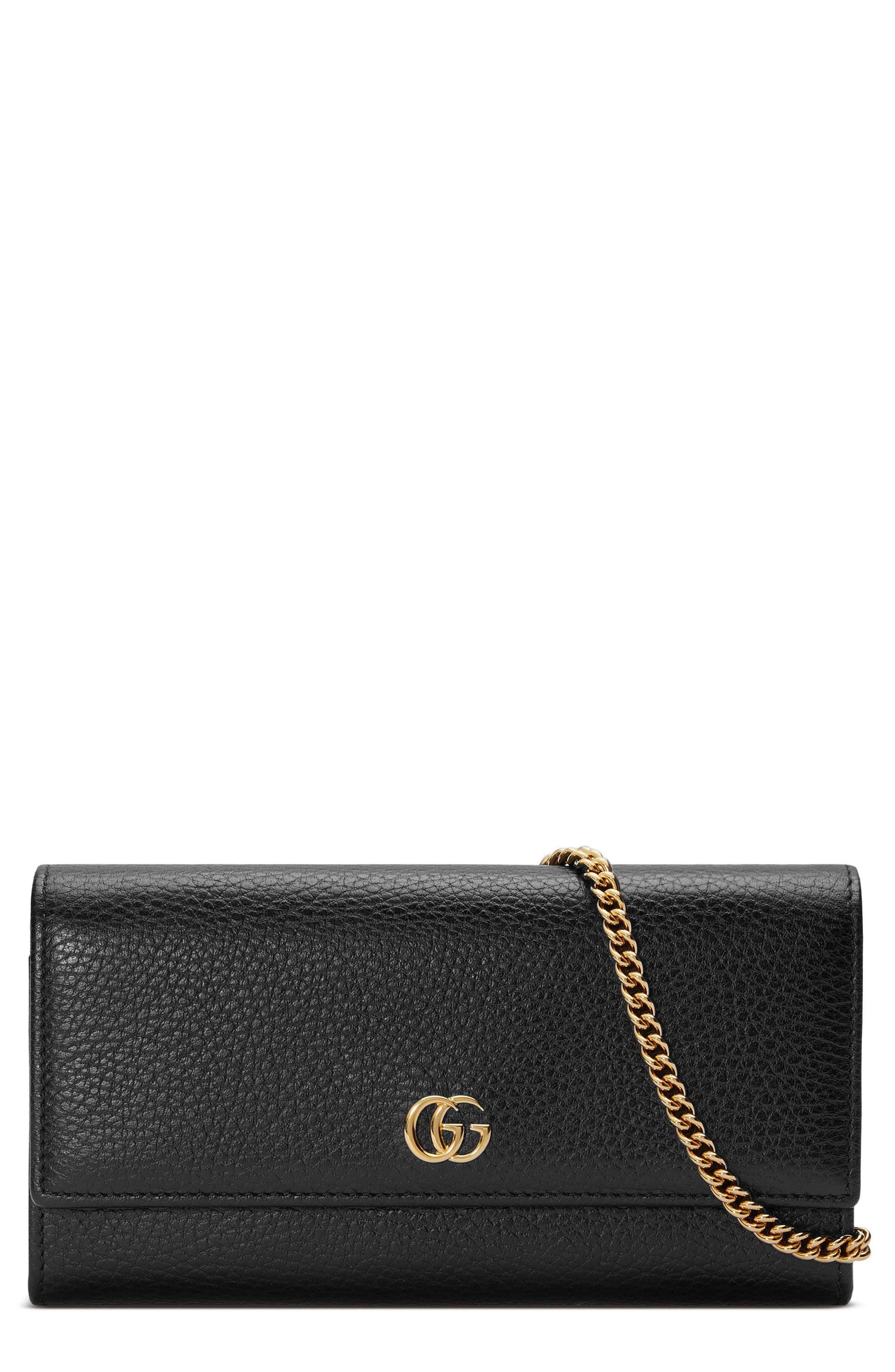 49de30393840e1 Women's Gucci Petite Marmont Leather Continental Wallet On A Chain - Black