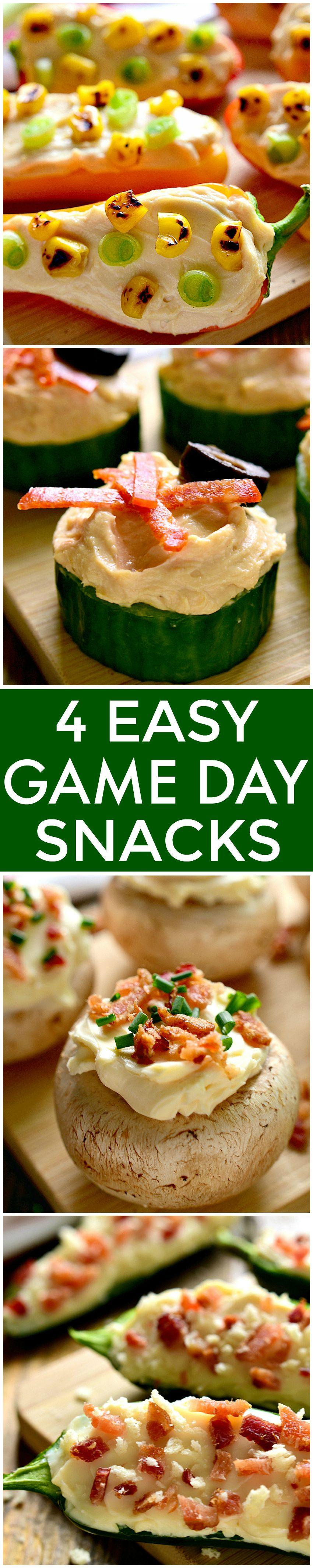 4 easy game day snacks each made with just 4 ingredients