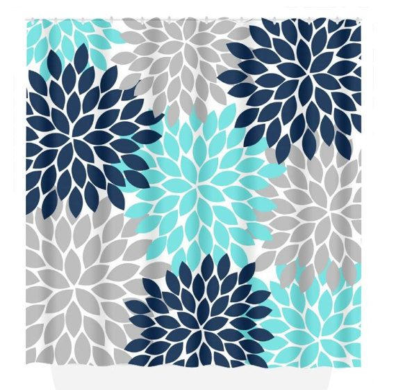 Aqua Navy Gray SHOWER CURTAIN Flower Burst Petals By TRMdesign