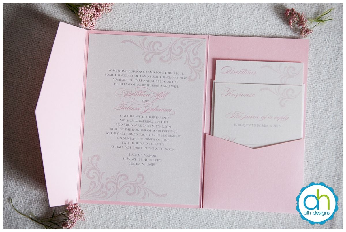 Pink And Silver Metallic Pocketfold Wedding Invitation Suite Alhdesigns Weddinginvitations