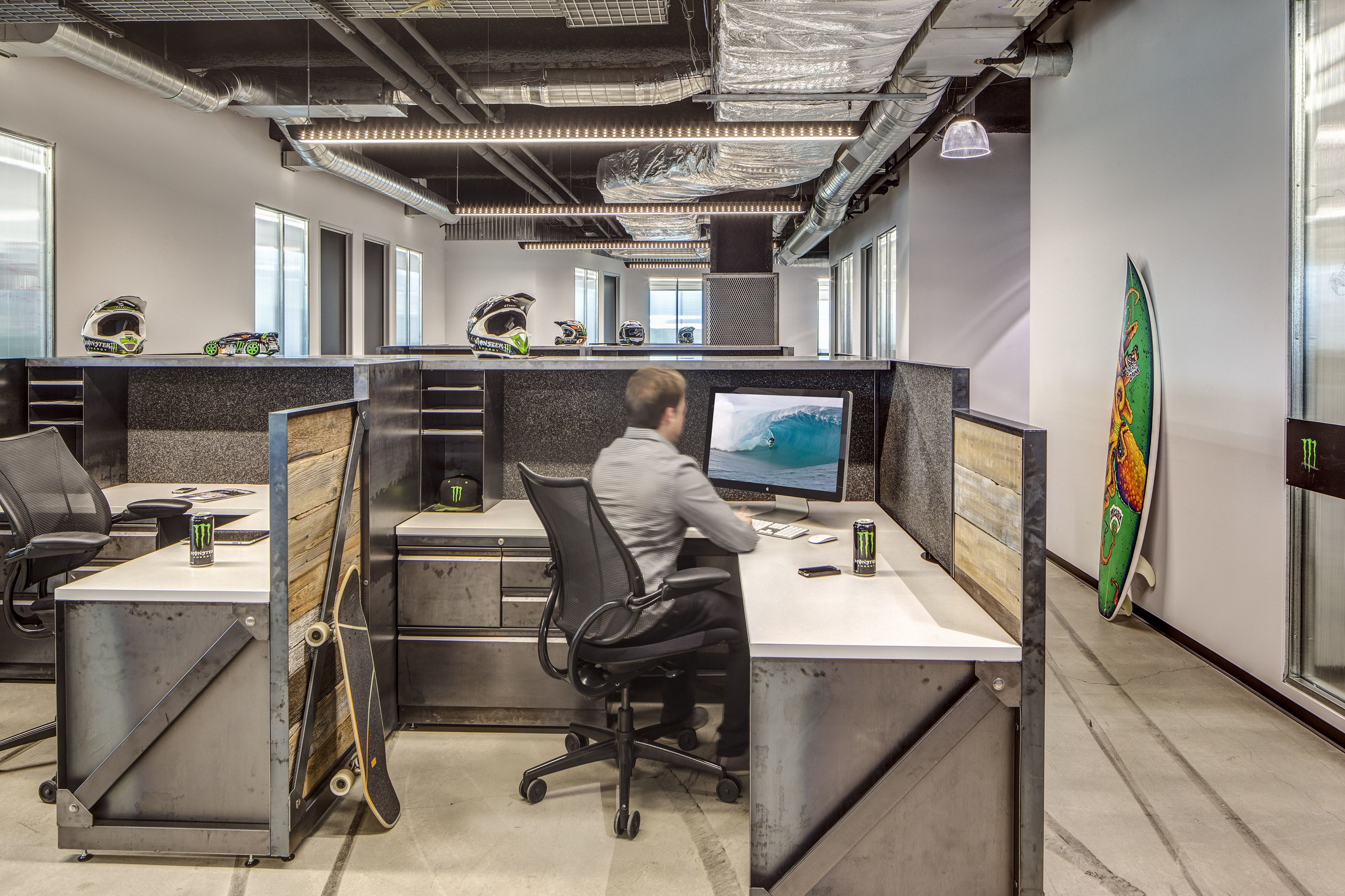 Custom workstations created for monster headquarters interior design by h hendy associates - Monster energy corporate office ...