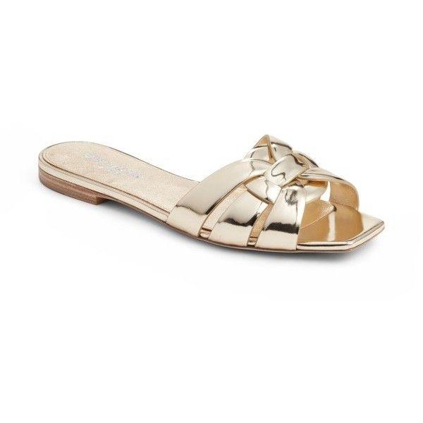 b5a6265945b Women s Saint Laurent Tribute Slide Sandal (1.920.685 COP) ❤ liked on  Polyvore