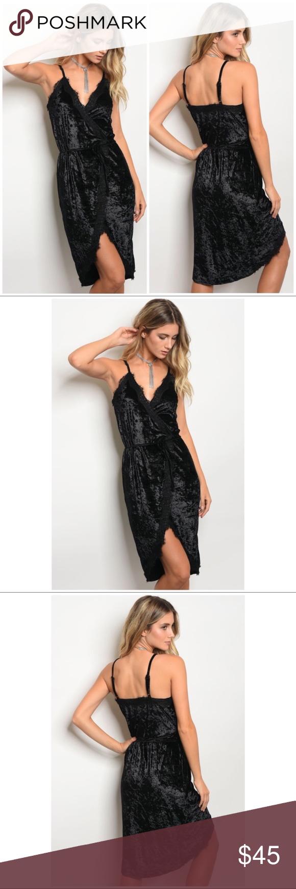 Black crushed velvet lace wrap midi prom dress boutique wrap style