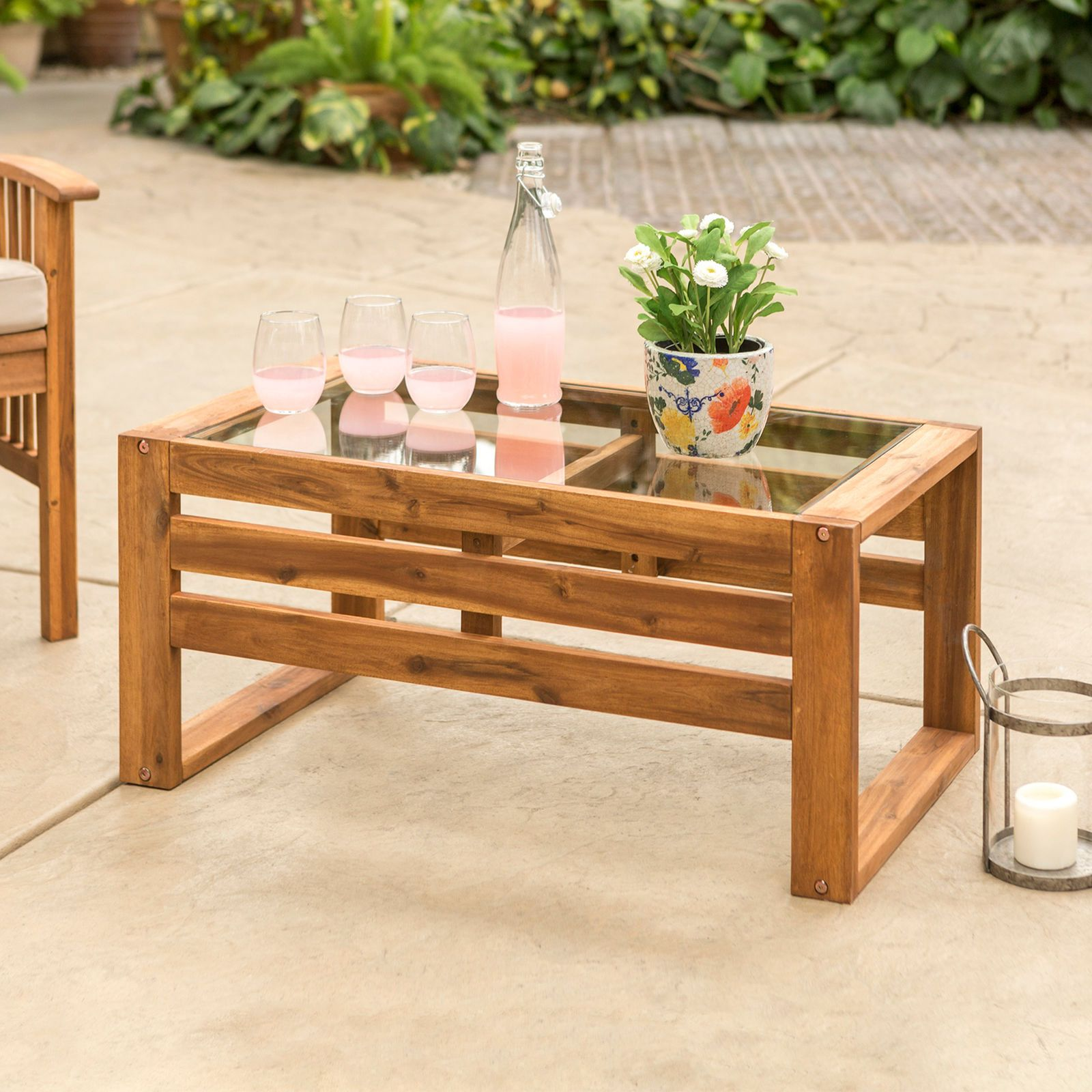 Hudson Wood Patio Coffee Table With Glass Top Pier 1 Imports Wood Patio Indoor Patio Furniture Outdoor End Tables [ 1600 x 1600 Pixel ]