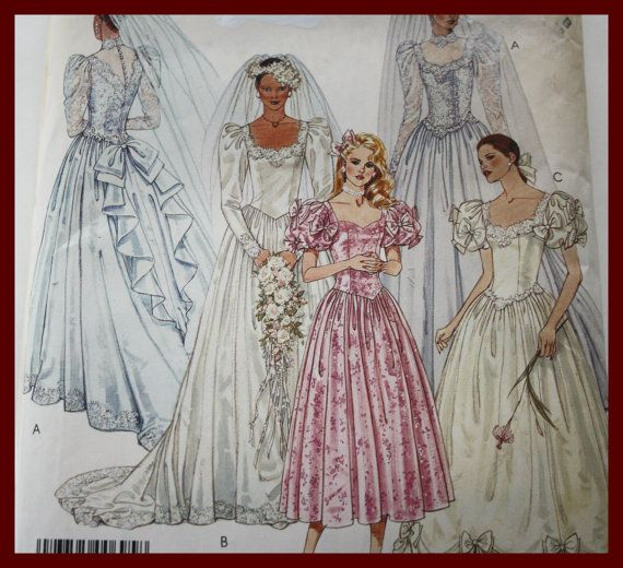 BRIDAL Gown and Bridesmaids gowns and by VintagePatternsDepot