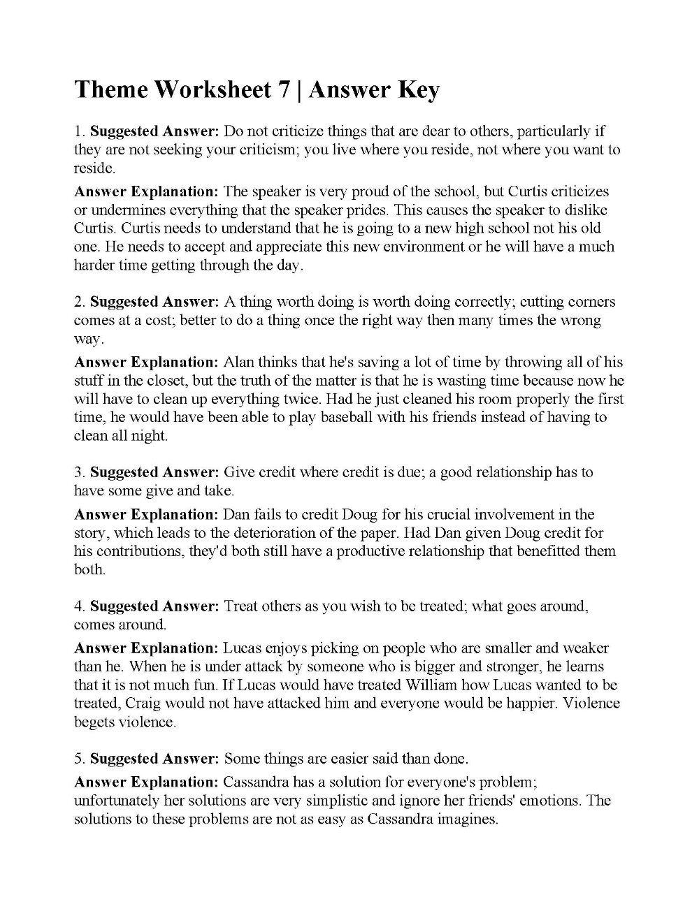 Theme Worksheet 7   Answers   2nd grade worksheets [ 1294 x 1000 Pixel ]