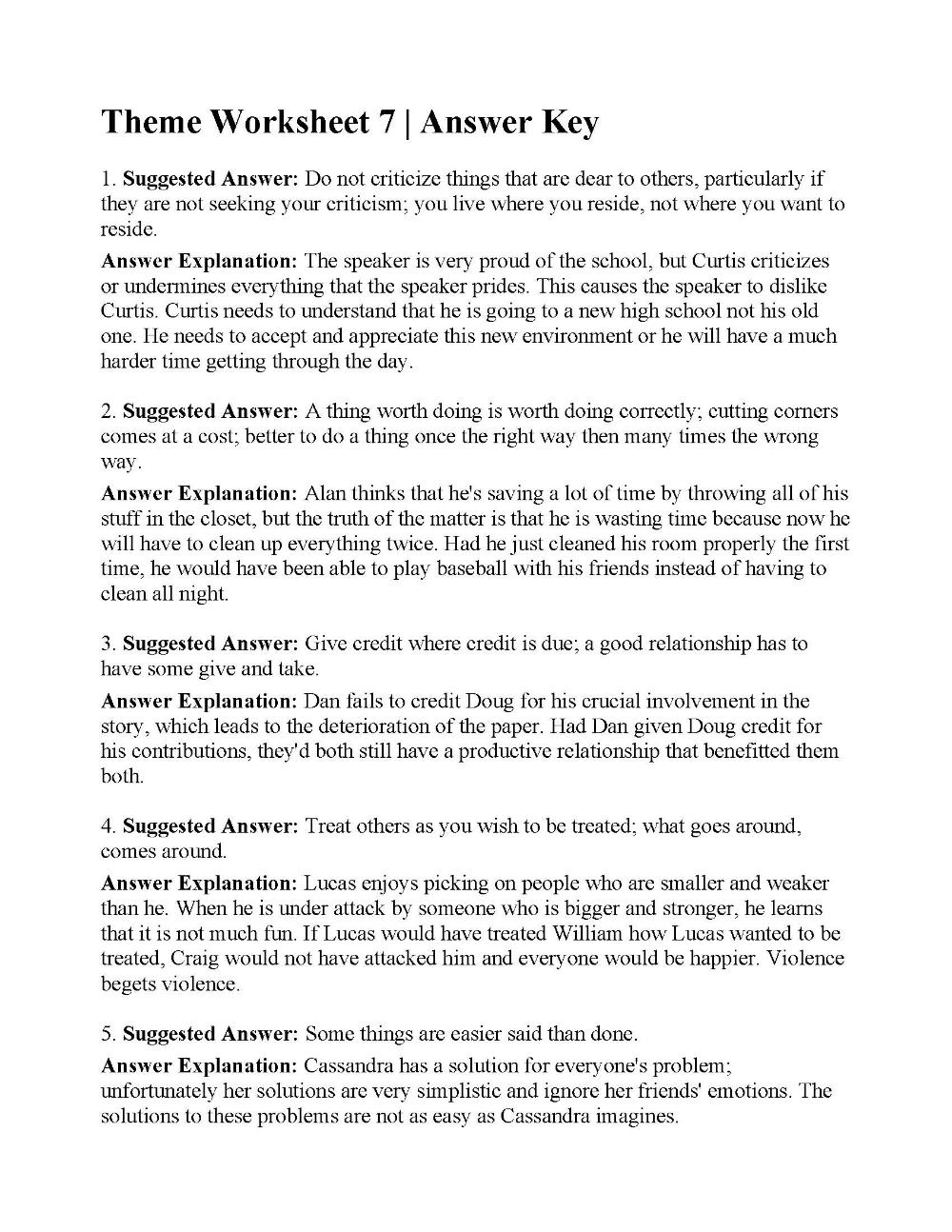 Theme Worksheet 7 | Answers | desktop | Reading worksheets ...