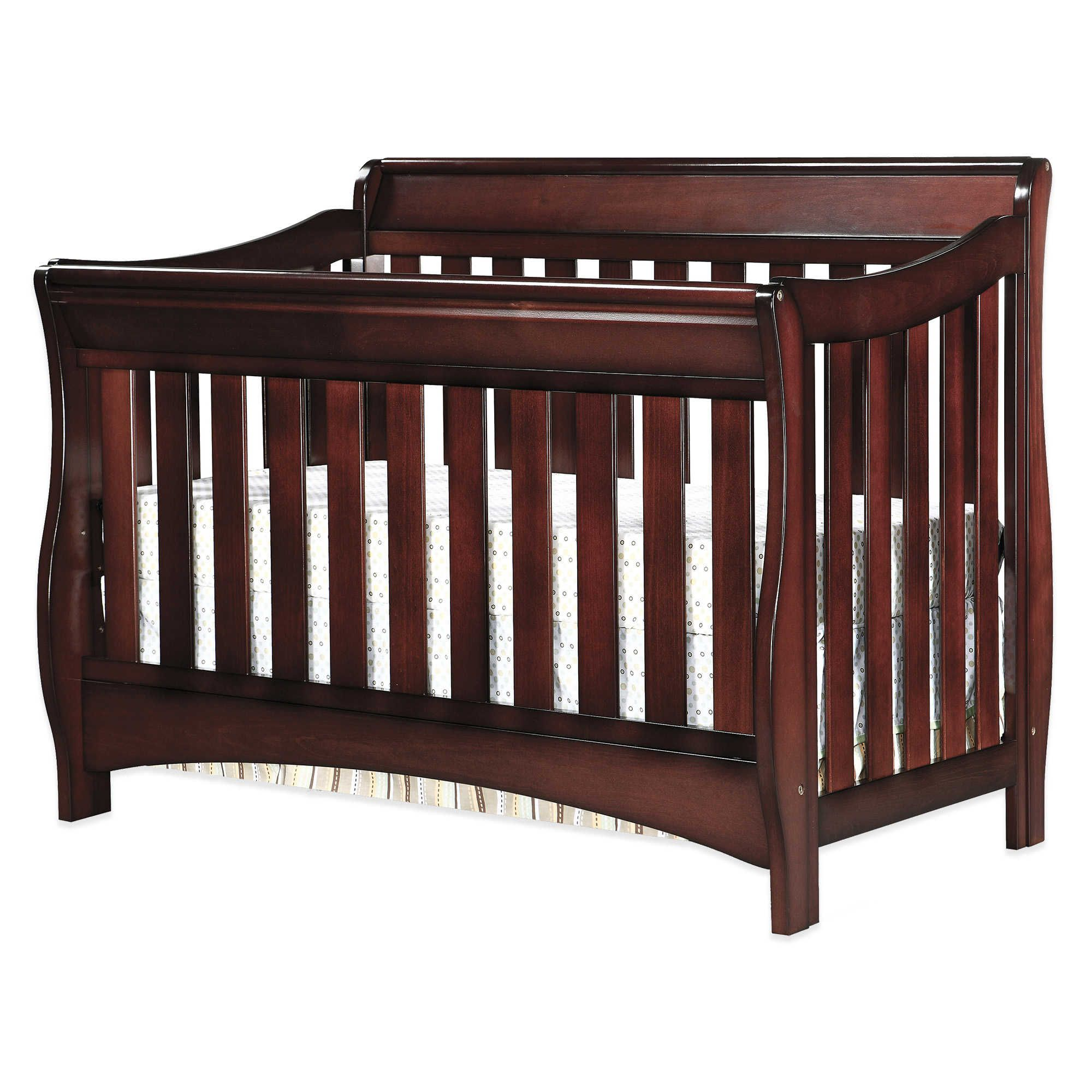 crib cribs cherry rail kids new bed sleigh toddler furniture safety itm bedroom