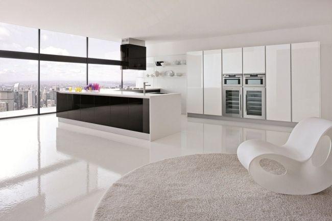 weiße Küche schwarze kücheninselfront abzugshaube | Ideas ...