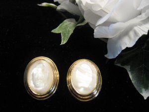 Vintage Monet Mother of Pearl Earrings