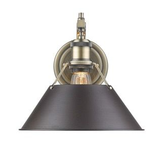 Golden Lighting Orwell AB Aged Brasss 1-light Wall Sconce with Rubbed Bronze Shade