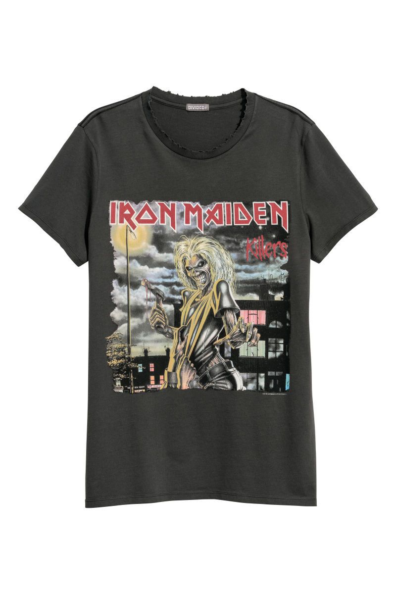 06014a188e95 Cotton Jersey T-shirt | Dark gray/Iron Maiden | MEN | H&M US | T ...