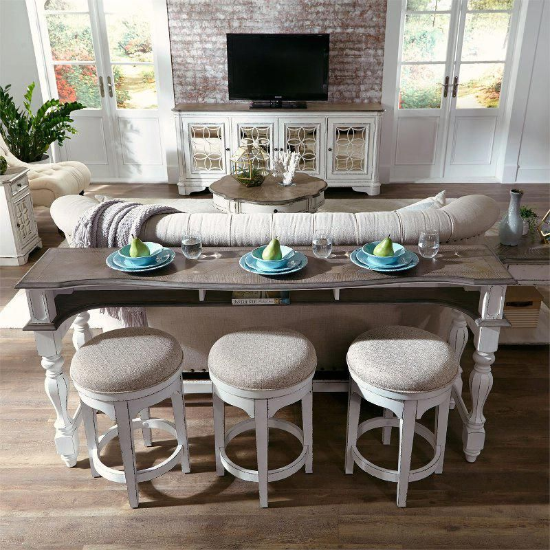 Antique White Console Bar Table And Stools Magnolia Manor Bar Table And Stools Sofa Table Decor High Top Table Kitchen