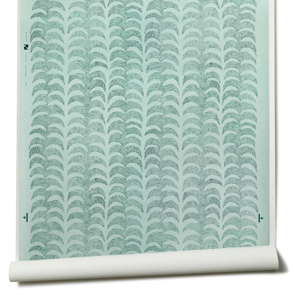 Dotted Palm Wallpaper in Ice Mint/ Deep Marine in 2020