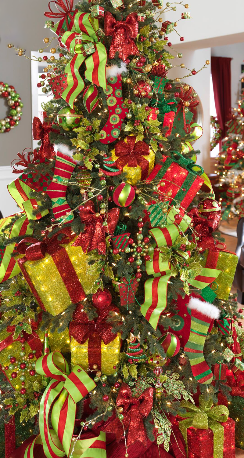Red and green christmas tree pinterest