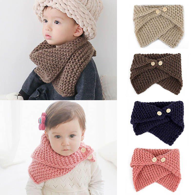 8a3a145b84a Pas cher Unisexe Automne Hiver de Bébé bébé Bavoirs Enfants Tricoté Crochet  Écharpe Châle Chaud Écharpe