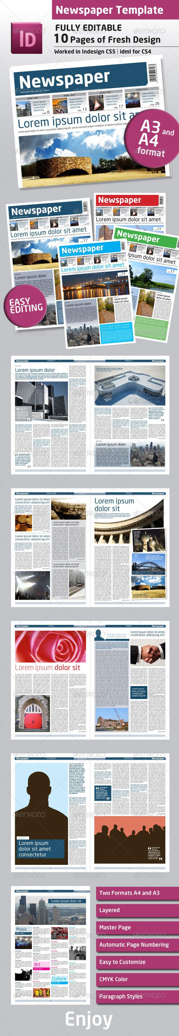 newspaper template a4 and a3 format 10 pages newsletter template