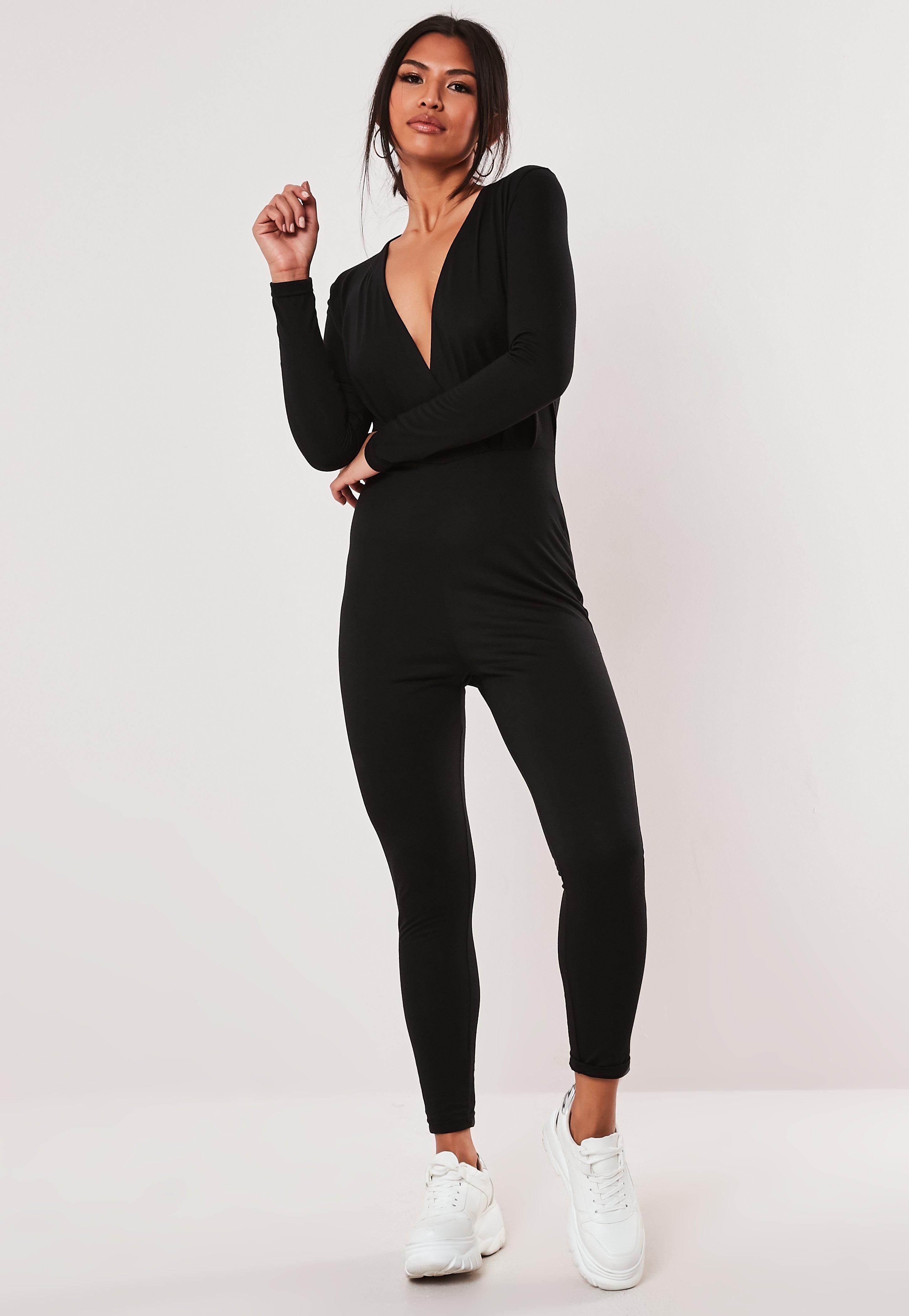 Black Basic Wrap Skinny Leg Jumpsuit Black Basic Wrap Skinny Leg Jumpsuit