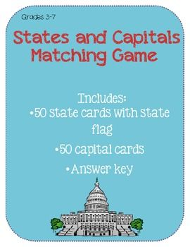 United States and Capitals Matching Game   School Ideas