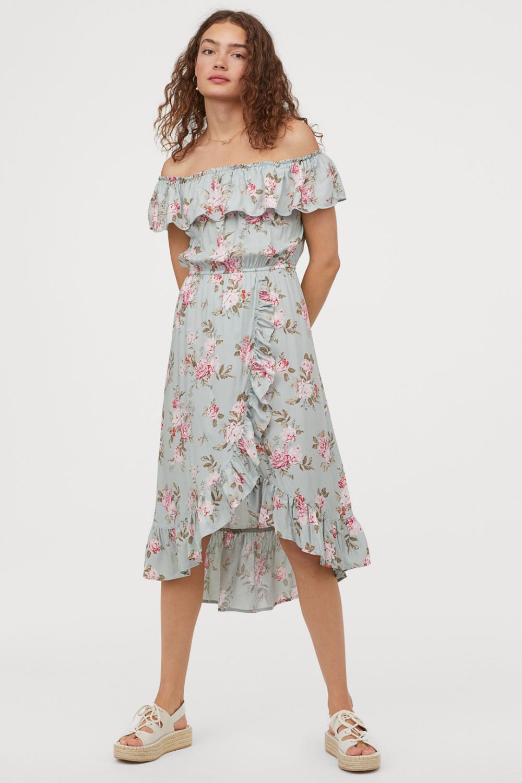 Sukienka Z Odkrytymi Ramionami Jasnoturkusowy Kwiaty Ona H M Pl Dresses Shoulder Dress Sun Dress Casual