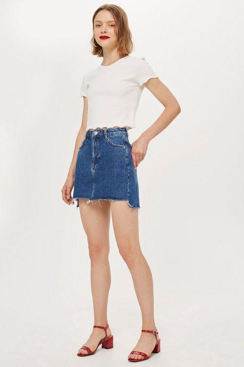 3ead821429 Stepped Hem Denim Skirt in 2019 | Products | Denim skirt, Denim, Skirts