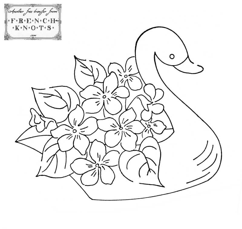 Swan And Flowers Embroidery Transfer Pattern Perhaps For Guest