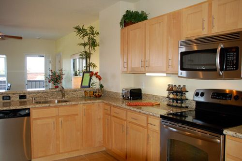 Natural Maple Kitchen Cabinets White Appliances Awesome ... on Best Countertop Color For Maple Cabinets  id=82969