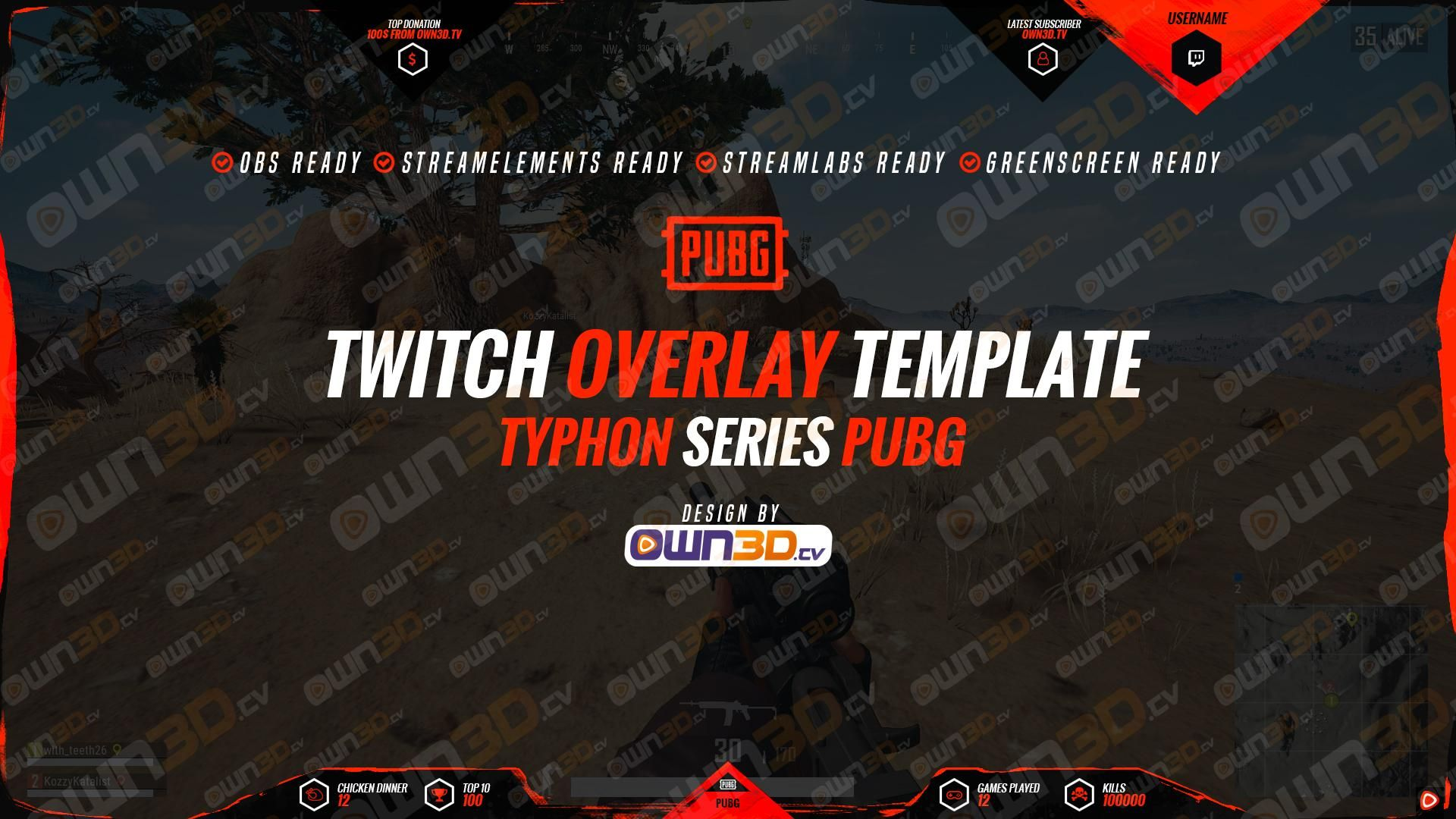 Twitch Overlay Template Typhon Red - PUBG | PUBG Twitch Overlays