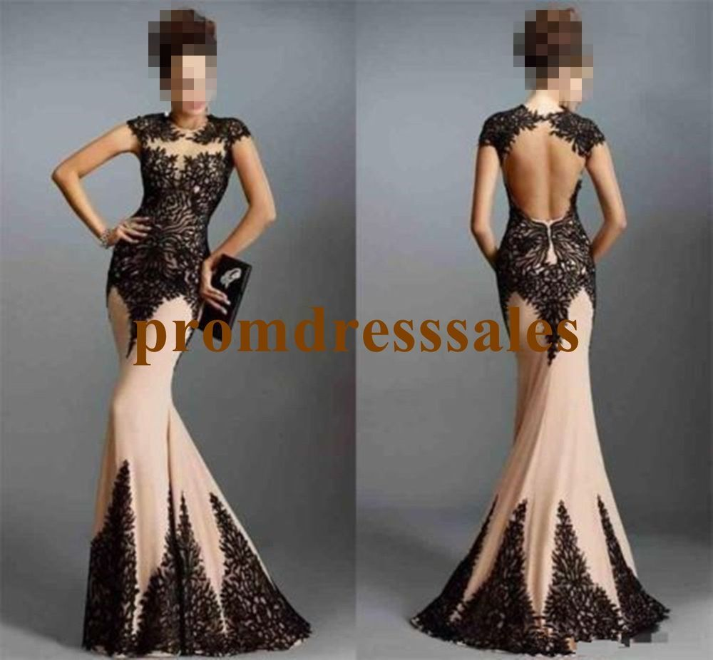 Sexy open back mermaid pageant prom carpet gown celebrity party