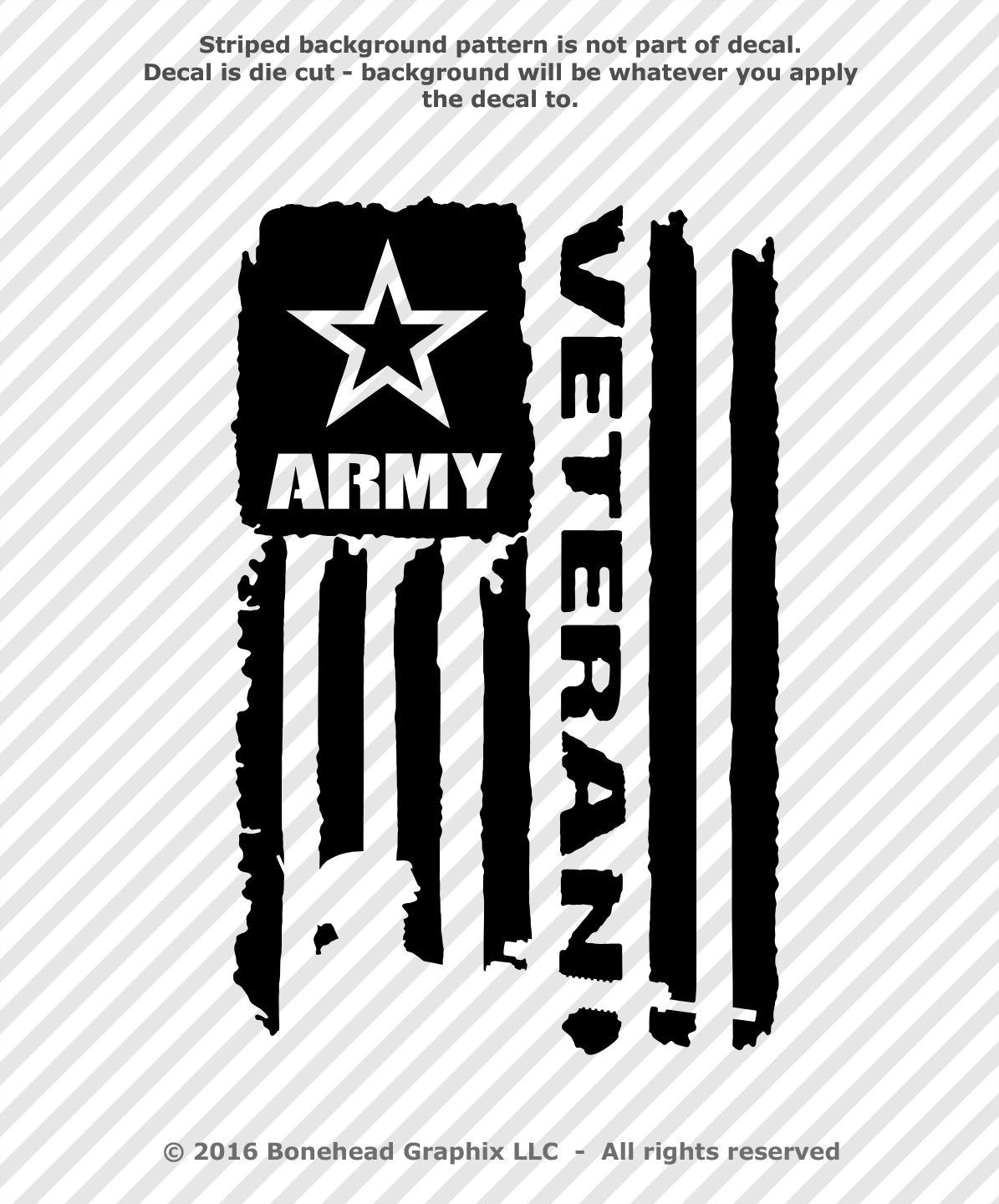 Details About Distressed Army Veteran Flag Vinyl Decal