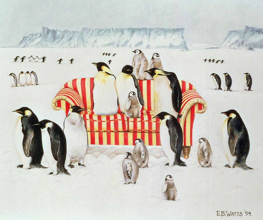 Penguins On A Red And White Sofa  by EB Watts