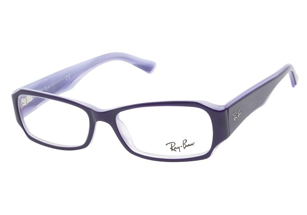 Ray-Ban RB5168 2390 Purple eyeglasses have a playful rectangular design. The rich glossy eggplant exterior has a peek-a-boo lavender layer that borders the frame on the top and bottom corners. The pea from @CoastalDotCom