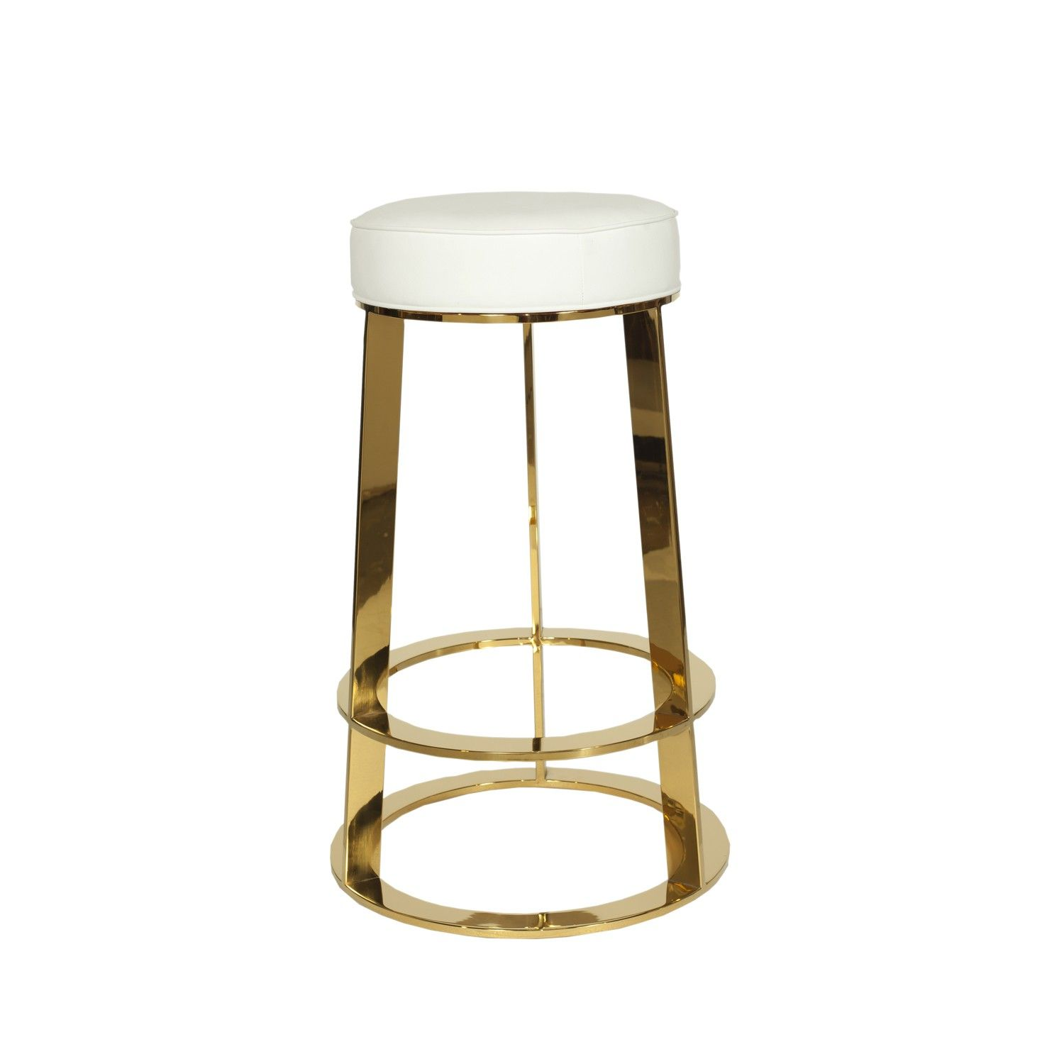 Samson Wh Brass Round Counter Stool With White Pu Leather Top Foot Rest Height From Ground 7 5 H Leather Counter Stools Counter Stools Bar Stools