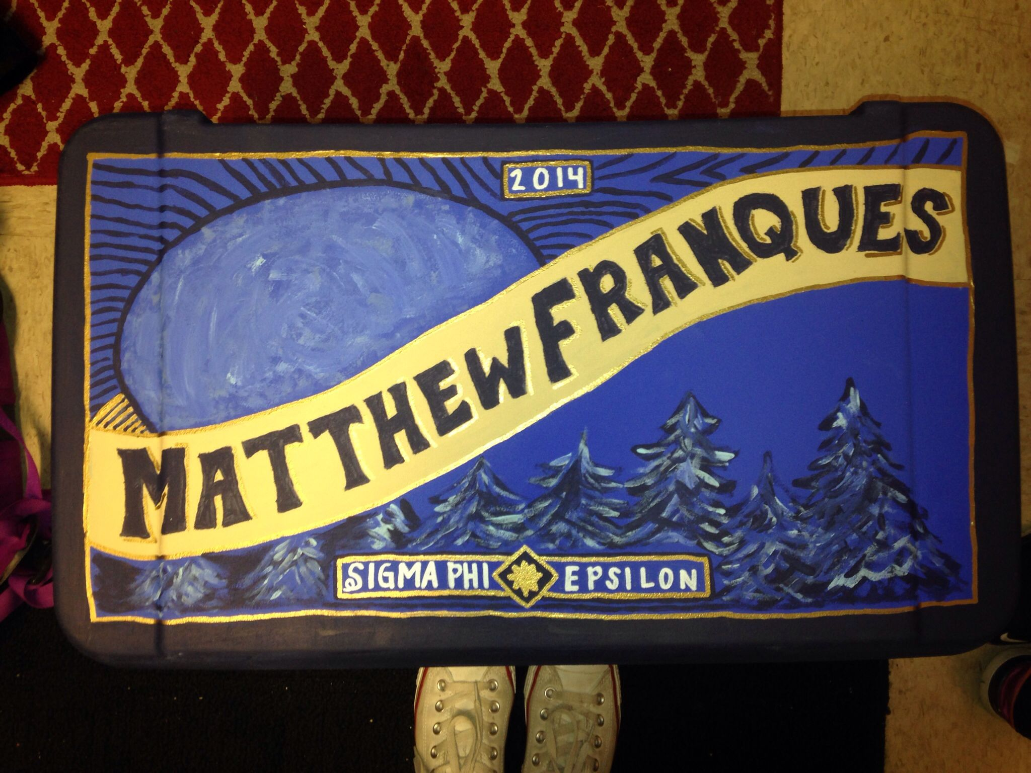 Painted formal fraternity cooler sig ep blue moon