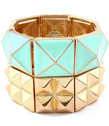 $16 Pyramid Stacked Stretch Bracelet - Gold & Turquoise