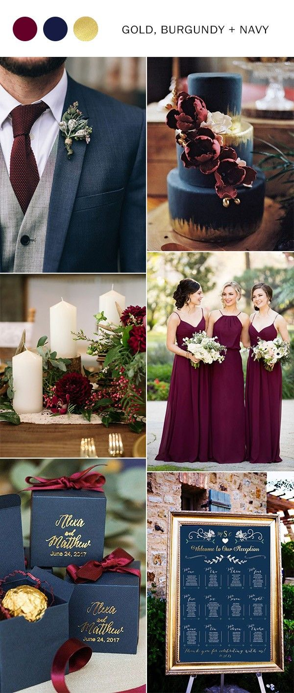 Trending 5 perfect burgundy wedding color ideas to love gold burgundy navy blue and gold wedding color ideas junglespirit Image collections