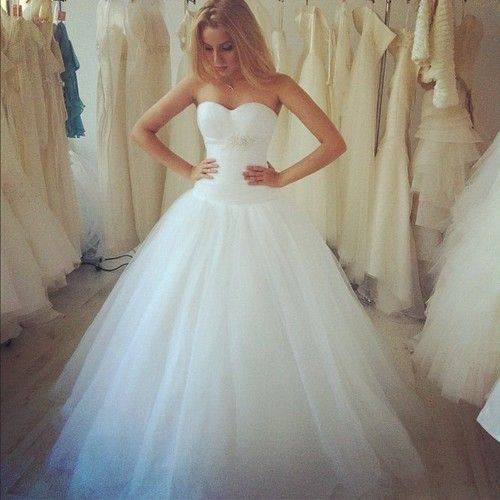 strapless poofy wedding dresses