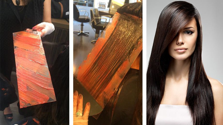 hand pressed hair color technique with glass