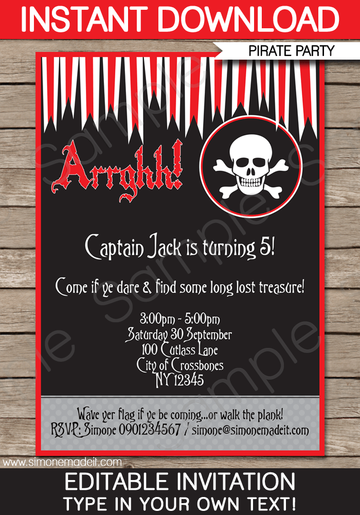 Free editable pirate invitation toddler pinterest pirate free editable pirate invitation stopboris Gallery