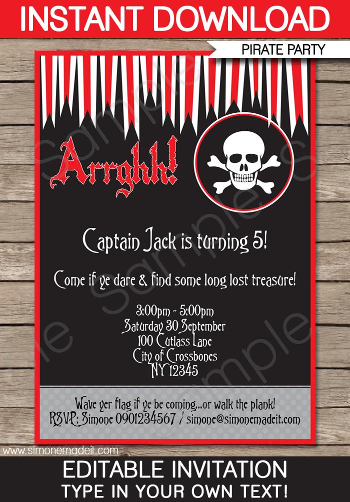 free editable pirate invitation | toddler | pinterest | pirate, Birthday invitations