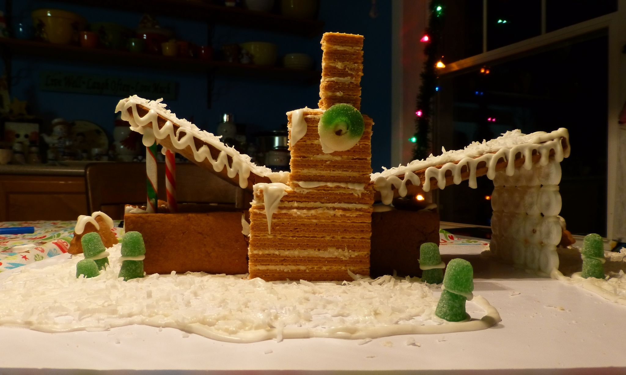 mid century modern gingerbread house with a butterfly roof