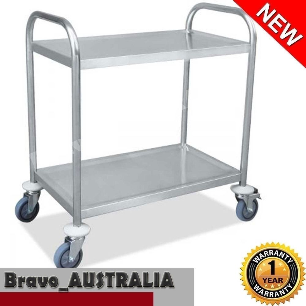 Steel Kitchen Trolley Serving Cart 2 Tier Dining Food Utility Catering