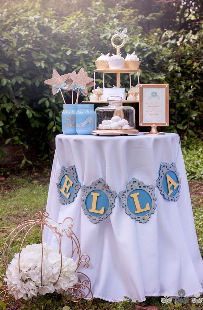 Pretty dessert table at a Cinderella birthday party! See more party ideas at CatchMyParty.com!